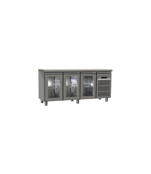 Table réfrigérée 3 portes vitrées GN2/1 profondeur 70  avec meilleur prix