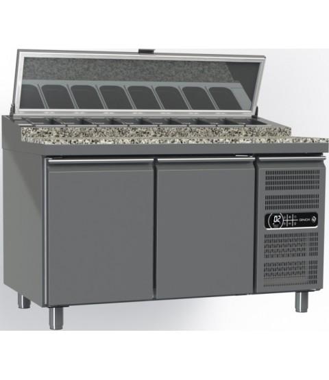 Table Réfrigérée pour Pizza et Toast - 2 Portes - Surface GRANIT
