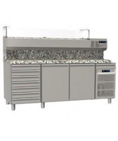 Tables réfrigérées pâtissières grille - 60*40 deux portes bloc de sept tiroirs