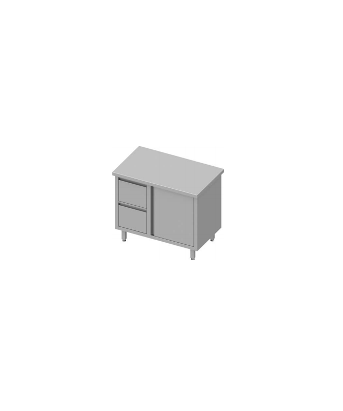 Table de travail avec deux tiroirs et une porte battante