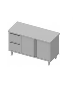 Table de travail avec deux tiroirs et deux portes battantes