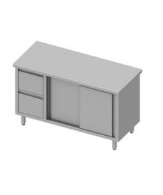Table de travail avec deux tiroirs et deux portes coulissantes