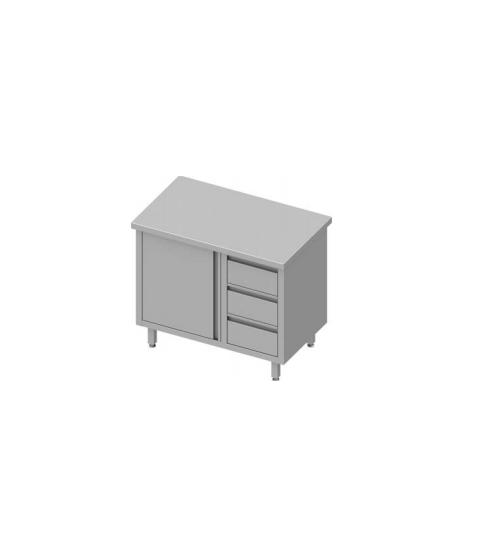 Table de travail avec trois tiroirs et une porte battante