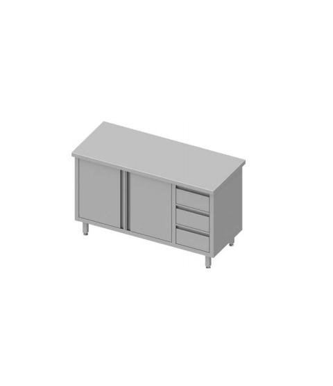 Table de travail avec trois tiroirs et deux portes battantes