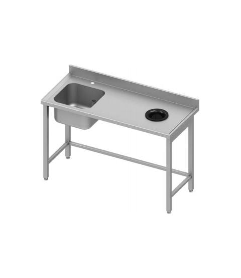 Table Inox avec cuve et trou vide ordure