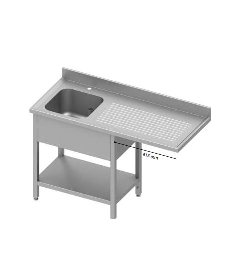 Table adossée avec cuve, avec passage pour réfrigérateur ou lave-vaisselle