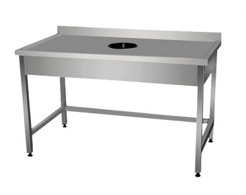 Table inox avec vide ordures